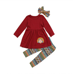 82aae6ce4 3PCS Pudcoco Thanksgiving Turkey Kids Baby Girl Outfit Clothes Long Sleeve T -shirt Pants Headband Set