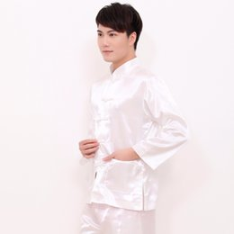 03f611e3d8 White Chinese Style Men Rayon Soft Pajamas Suit Vintage Single Breasted Pyjamas  Long Sleeve Shirt Pant Sleepwear M L XL XXL