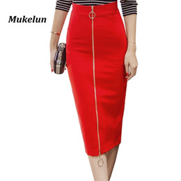 684befecaab62 2018 Women Sexy Office Skirt Plus Size Casual High Waist Mid Calf Long  Elegant Stretch Zipper Bodycon Red Pencil Skirts S-5XL S916