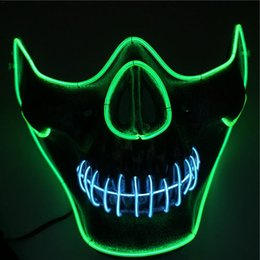 $enCountryForm.capitalKeyWord Australia - wholesale Halloween Bar Dance Dress Up EL Cold Light Glowing Lower adults Mask Half Face Human Skeleton Head Horror Lighting