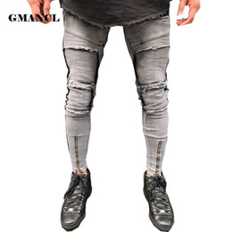Hip Hop Pants Brands NZ - 2018 New Gray Jeans men Hem Zipper Stretch Knee Ripped Biker Jeans Men Hole Hip Hop Brand Skinny Pleated Patchwork Male Pants