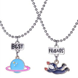 online shopping 12pair best friends necklace silver tone beautiful colorful Space astronauts planet charm BFF necklace Children s day gift