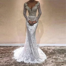 black gold pageant dresses 2019 - Glamorous Mermaid Long Sleeves Prom Dresses 2018 Full Lace V-Neck Crystal Evening Dress Rhinestones Plus Size Pageant Go