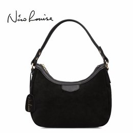 a8951bd44c51 2018 New Women Real Suede Leather Small Shoulder Bag Brand Female Leisure  Cossbody Hobo Handbag For Lady Blosa Top-handle Bags