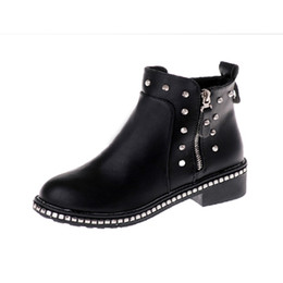 brown ladies heel shoes 2019 - women boots fashion rivet zipper round- toe ankle students & ladies shoes botas de lluvia para mujer med heels women boo