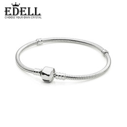 EDELL Authentic 100 925 Sterling Silver Classic Chain Head Snake Bracelet DIY Bangle Send Woman Birthday Gift