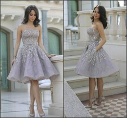Organza knee length bridesmaid dresses online shopping - Bling Bling Strapless Beads Sequins Homecoming Dresses Arabic Crystal Bridesmaid Short Prom Dress Cocktail Party Club Wear Graduation