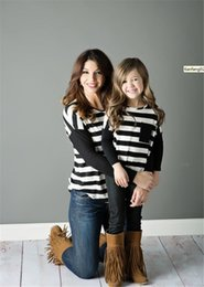 Match Clothing Mom Baby NZ - Family Matching T-shirt 2018 Newest Round collar pockets long sleeves Striped Mother And Daughter Clothes Mom Baby Casual Dresses