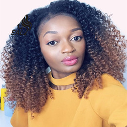 Kinky Curly Human Hair Afro Wigs Australia - Ombre Blonde #1b#30 Full Lace Human Hair Wig Afro Kinky Curly Brazilian Hair Free Part 150%Density Front Lace Remy Wig With Baby Hair