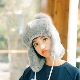 Bear Head Hat Australia - Bear Ear Real Rabbit Fur Hat Winter Fur Wool Knit  Thick 39b257eab5e7