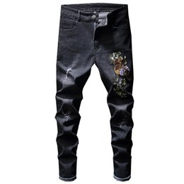 $enCountryForm.capitalKeyWord UK - 2018 Jeans Men Embroidery Hip Hop Korean Black Biker Men's Black Punk Jean Streetwear Denim Party Club Designer Trousers