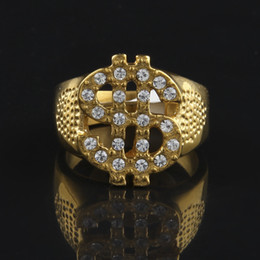 Discount gold plated rings for men - Stainless steel Iced Out Bling Bling Rings Gold Color US Dollar Sign Signets Rings for Men Women Rock Hip hop Jewelry Gi