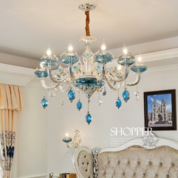 $enCountryForm.capitalKeyWord Australia - New Luxury K9 Crystal Chandeliers Lighting Bule Candle LED Pendant Hanging Living Room Lustres De Cristal Lamp Fixtures