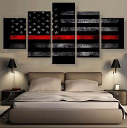 $enCountryForm.capitalKeyWord Australia - Thin Red Line American Flag,5 Pieces HD Canvas Printing New Home Decoration Art Painting (Unframed Framed)