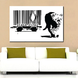 banksy spray art 2019 - Graffiti Art Canvas Painting Banksy Leopard Barcode Art Prints Living Room Bedroom Wall pictures Art No Frame cheap bank