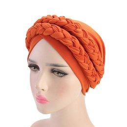 Braiding hair cap online shopping - Women Headband Bohemian Twist Braid Hat European and American fashion Muslim Headdress Chemo Cap Hair Accessories Colors