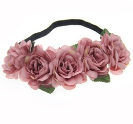 bridal party fabric 2019 - Fabric Lotus Flower Headbands for Woman Girls Hair Accessories Bridal Boho Flower Crown Garland Wedding Party Forehead H