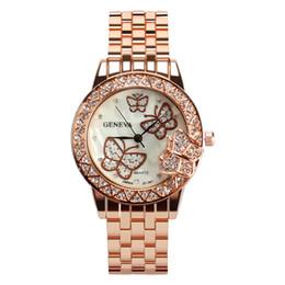 quartz butterfly watch women 2019 - Geneva Luxury Brand Watch Women Quartz Fashion Butterfly Stainless Steel Watches Diamonds Analog Wristwatches Clock Relo
