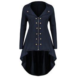 a2db7592641 Gothic Plus Size Blue Long Trench Coats Women Slim Asymmetric Elegant 2018 Autumn  Overcoat Office Ladies Vintage Outerwear Coat