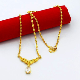 $enCountryForm.capitalKeyWord NZ - High Quality 24K Gold-color Chain Necklaces Pendant Necklace Jewelry for Wome luxury Trinket Gifts