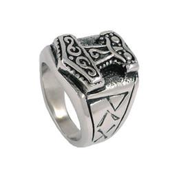 $enCountryForm.capitalKeyWord NZ - Tribal Symbol Myth Thor Hammer Ring Stainless Steel Jewelry Celtic Knot Ring Norse Motor Biker Men Wholesale SWR0041