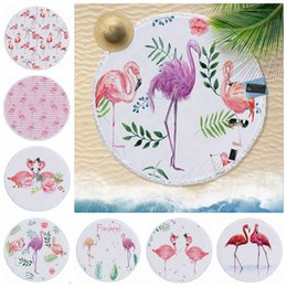 807034f06e2ef Flamingo Beach Towel Tassels Round Beach Towels Plus Size Picnic Rug Women  Bikini Cover Up Yoga Mat 5 Designs 15pcs YW1128