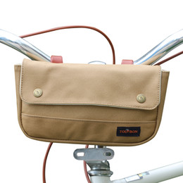 bicycle bars UK - Tourbon Bicycle Handlebar Bag Cycling Front Phone Pouch All-Purpose Bike Accessories Brown Waterproof Canvas