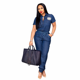 $enCountryForm.capitalKeyWord Australia - 2018 Women Casual Denim Jumpsuit Romper Long Sleeve Blue Button Bodycon Bodysuit S-XXL High Quality