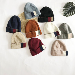 69ed9eb9429 Personality square color matching wool knit hat outdoor Korean version of  the wild wool hat winter new cold cover cap