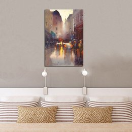 decorative hand paintings Australia - Hand Painted Abstract Modern City Street View Landscape Oil Painting on Canvas House Decorative Handmade Wall Fine Art Pictures