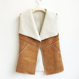 brown suede vest NZ - Wholesale-New Vintage Autumn Winter Women Suede Warm Fleece Turn-down Collar Vest Jackets Sleeveless Slim Outerwear Coat Waistcoat Q4955