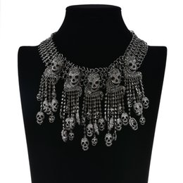 skulls accessories 2018 - Fashion Exaggerated Necklace Skeleton Head Chain Female Retro Rock Punk Skull Collar Necklace Vintage Pirate Pendants We