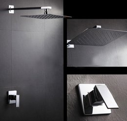 Inch Hose Australia - Free Shipping Concealed SUS 304 Shower Set Faucets.8 or 10 or 12 inch Ultra-Thin rainfall square shower head,Bath tap IS018