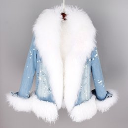 $enCountryForm.capitalKeyWord Canada - 2018 Natural Real Mongolia Sheep Fur Liner Collar Winter Jacket Women Coat Parkas Detachable 3 In 1 Denim Outerwear Thick Warm