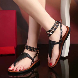 $enCountryForm.capitalKeyWord Australia - Brand Summer Women's Color Block Studded Flat Sandals High Quality Open Toe Sexy Stud Flats Party Wedding Ladies Double Ankle Straps Sandals