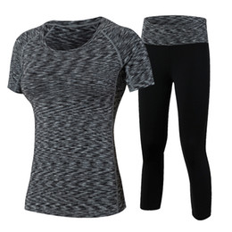 Sexy Army Shirts Australia - New Women Sexy Running Sets Tracksuits Women's Quick Dry Gym Fitness Tights Yoga Sets T-shirt Tracksuits Women Shirt and pants