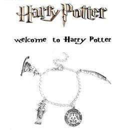 Harry Bracelet NZ - New Harry Mixed Bracelet Ancient Silver Talking Hat Wingardium Leviosa Dobby Charm Bracelets Fashion Potter Jewelry