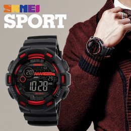 Digital Meter Mm NZ - SKMEI men's digital watch LED display multi time zone 50 meters waterproof clock Relogio Masculino outdoor fashion casual men's watch 1243