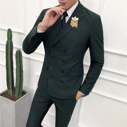 Beige Slim Suits For Men Australia - Loldeal Double Breasted Green Men Suits Terno Slim Fit 2 Pieces Party Tuxedo for Men