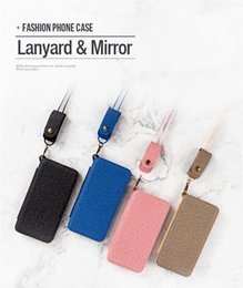 Iphone 6s Mirror Case Canada - For Iphone X 8 8Plus 6 6S 7 7Plus Galaxy S8 plus Note 8 Mobile Phone Case Lanyard Mirror Soft TPU Case Woman Credit card holder phone case