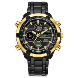 b03cccc56180 AMUDA 2018 hombres marca de lujo relojes de moda negro oro reloj Relogio  Masculino hombres elegantes deportes reloj de cuarzo doble tiempo Saat
