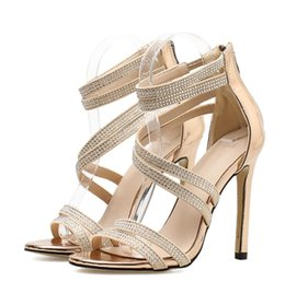 Gold Bling Crystal Sexy Women Sandals High Heels Zip Gladiator Women  Sandals Stiletto Wedding Rhine Stone 494a6d47fdf7