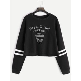 sudaderas de manga corta para mujer. al por mayor-Short Spring Women Fashion Hoodies Letter Print First I Need Coffee Hoodie Women Long Sleeve Casual Cropped Sweatshirt Pullover