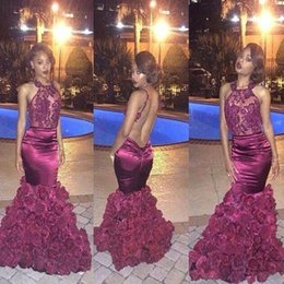 Beaded halter floral dress online shopping - 2018 Burgundy Sexy Mermaid Prom Dresses Keyhole Neck Backless with D Rose Floral Sweep Train with Beads Black Girls Pageant Gowns BA1533