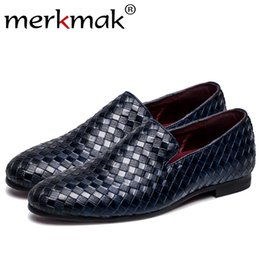 Discount flat braided leather - Merkmak Fashion Oxford Braid Leather Men's Shoes 2017 Spring Autumn Loafers Breathable Flats Men Sapatos Masculino