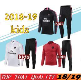 Boys Black yellow tracksuits online shopping - New kids psg tracksuit PARIS soccer jogging jacket MBAPPE POGBA jersey psg child Football Training suit Football Chándal