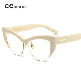 $enCountryForm.capitalKeyWord NZ - CCSPACE Lady's Cat Eye Glasses Frames Men Women Seme-Rimless T Rivet Brand Designer Optical EyeGlasses Fashion Eyewear 45108