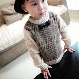 $enCountryForm.capitalKeyWord Canada - Cute Baby Boys Casual Sweater Girls O-Neck Bowknot Knitted Sweaters Kids Knit Loose Top Brown Pullover for Children 1-3 Years
