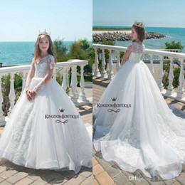 Wholesale Holy White Princess Ball Gown Flower Girl Dresses Sheer Long Sleeves Appliques Beaded Luxury Girls Formal Wear Gowns Summer Party Dress