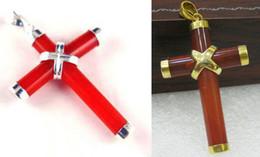 "Pendant Jade Australia - Wholesale Red Agate Jade 18KGP 18KWGP Cross Christmas Pendant & 18"" Necklace"